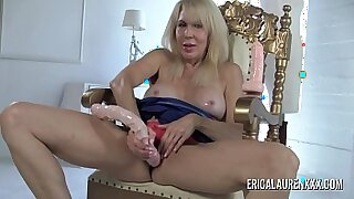 Busty blonde MILF bounce on dildo - 9:54