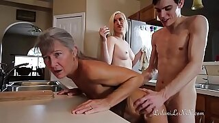 Girl gets pounded in uniform yoga chair after threesome - 22:37