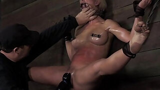 Blonde nipple clamped bdsm sub punished - 6:00