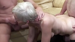 Old woman makes a threesome action with her nephew and her father - 11:00