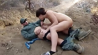 Teen caught by police and fuck bitch Mexican border patrol agent has - 7:00