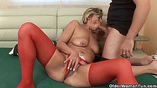 Grandma Penny twirls his soaking wet pussy and toys dog anus - 14:44